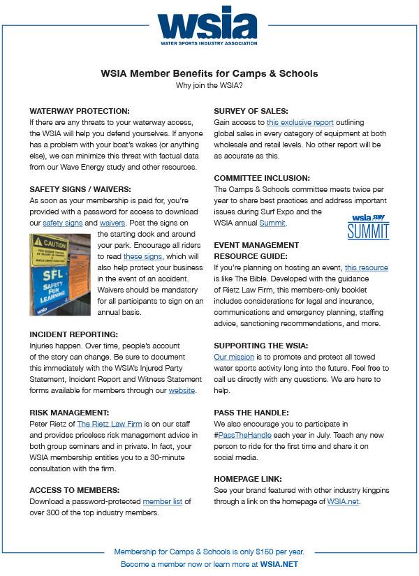Member Benefits for Camps, Schools and Instructors